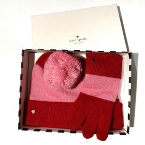 Kate Spade hat gloves gift set pink and red